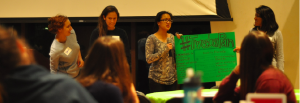 Students discuss plans to track Peter Pan bus at 2014 Ideafest. Photo by Alice Liang '18, Managing Editor