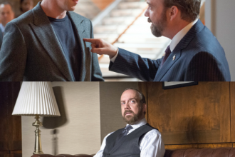 Paul Giamatti and Damian Lewis poses in character as Chuck Rhoades and Bobby Axelrod. Photo courtesy of Showtime