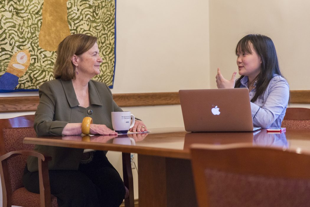 Genevieve Huang '18 interviews President Kim Bottomly. | Courtesy of the Office of Communications and Publicity.