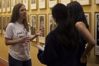 The Wellesley News speaks to Chelsea Clinton after her rally. Photo by Audrey Stevens '17, Photo Editor