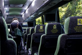 Students can commute on the bus from apartments in Cambridge and Boston to Wellesley's campus. | Photo by K Chin '17, Staff Photographer.