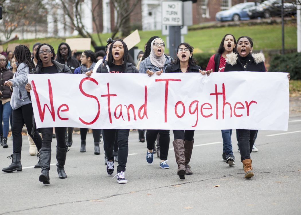 Wellesley students walk for tolerance and respect. | Photo by Audrey Stevens '17, Photography Editor