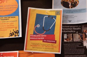 Single-payer health care discussion  posters vandalized by anonymous party