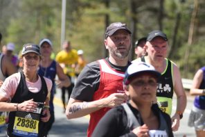 Professor Van Arsdale runs in first Boston Marathon for the Museum of Science