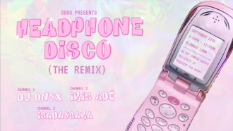 SBOG Spam Image. Baby pink tie-die background with a pink phone depicting Headphone Disco details. To the bottom right is the names of the DJs
