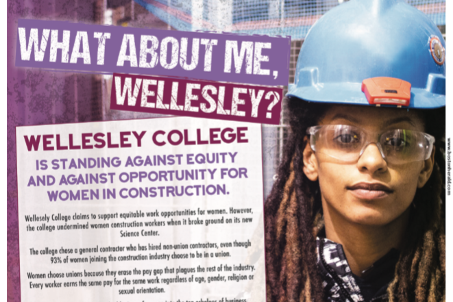 "Local 103 ad in the Boston Herald reading ""What About Me, Wellesley?"""