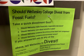 Photo of a flier supporting climate divestment