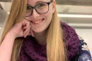 Katie Adler '22 uses mobility aids to get around campus